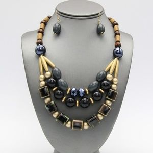 Jewelry - Black Beaded and Wood Necklace Set